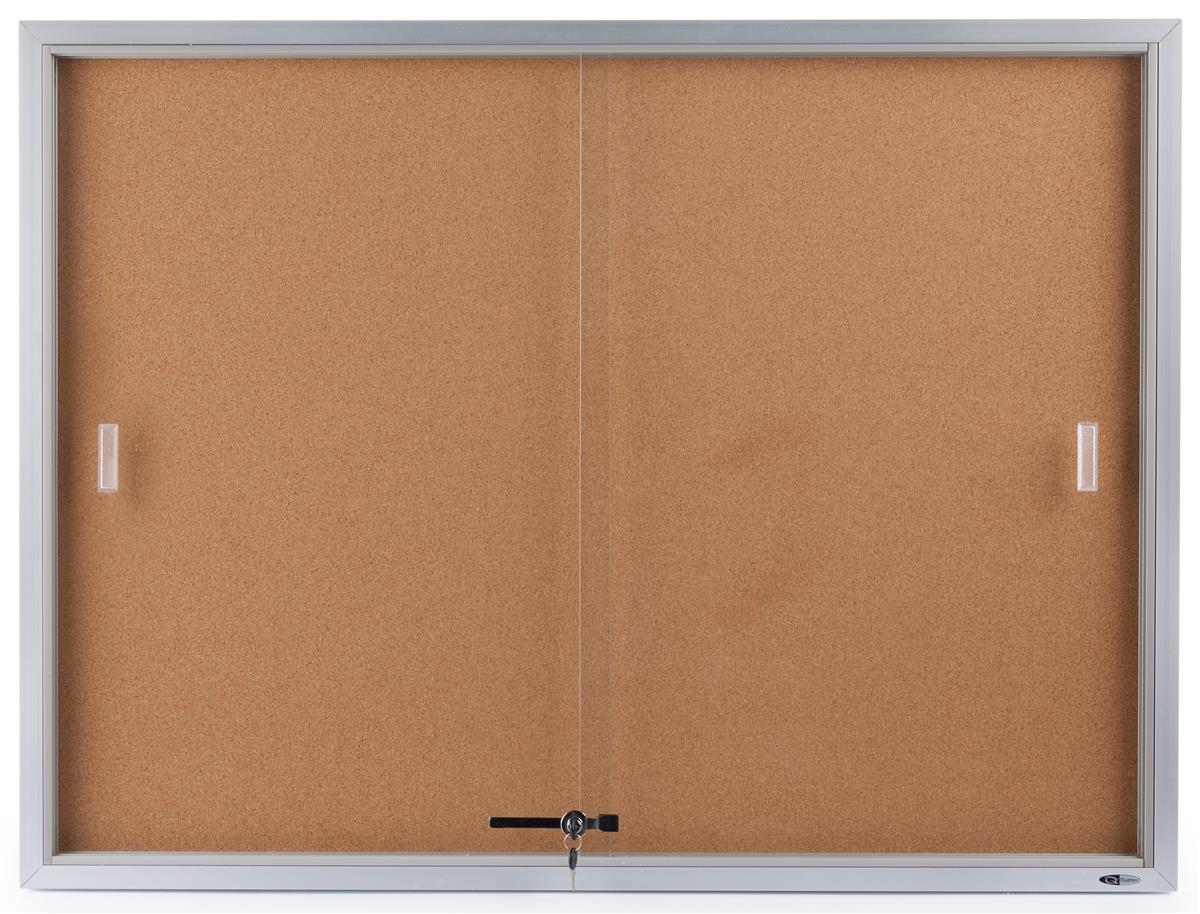 "Displays2go 48"" x 36"" Enclosed Cork Board with Locking Do..."