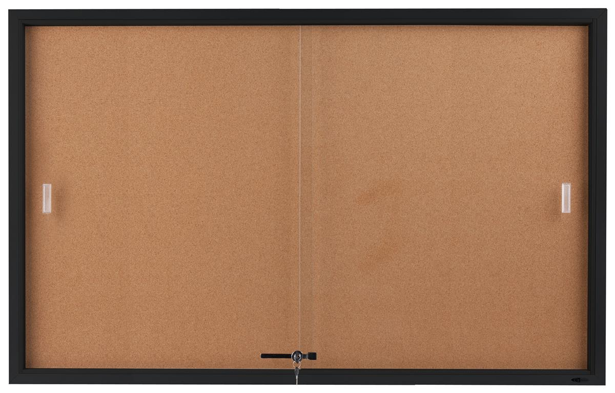 "Displays2go 60"" x 36"" Enclosed Cork Board with Locking Do..."