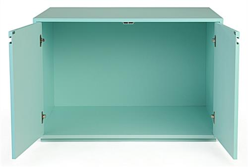 Enclosed storage area retail store display cabinet table