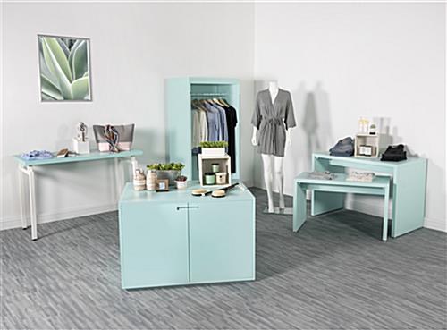 Complementary retail store display cabinet table