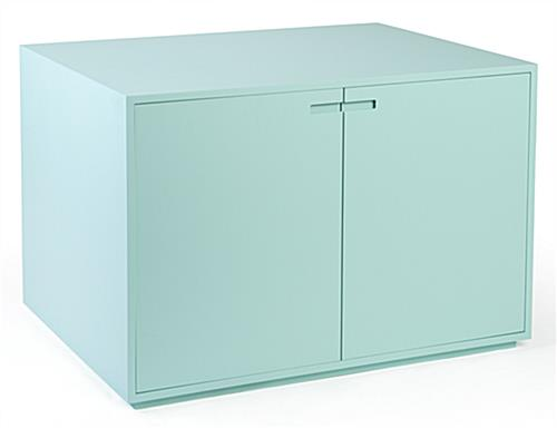 Light blue retail store display cabinet table
