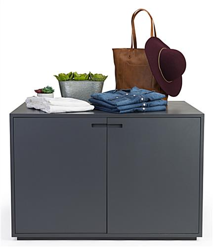 Double door retail storage cabinet display table