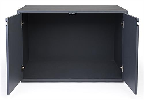 Enclosed retail storage cabinet display table