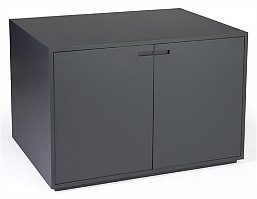 Gray retail storage cabinet display table