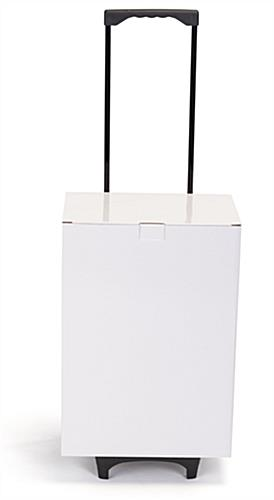 White cardboard exhibition trolley box with telescoping handle