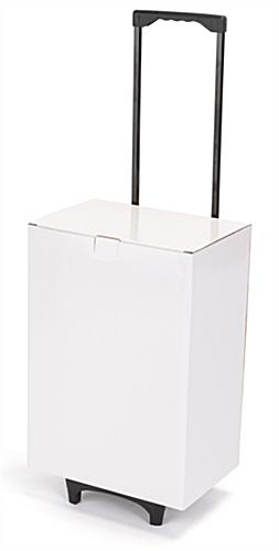 White cardboard exhibition trolley box with lightweight cardboard structure