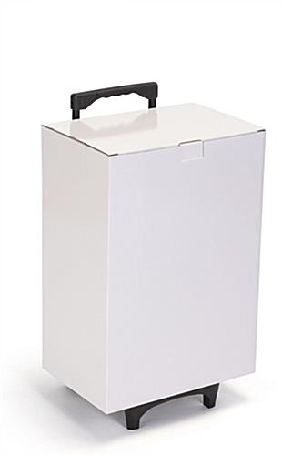 White cardboard exhibition trolley box with laminated glossy material