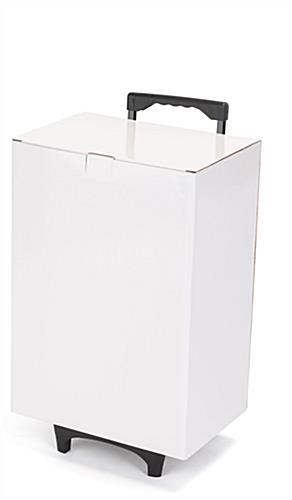 White cardboard exhibition trolley box with corrugated recycled paperboard
