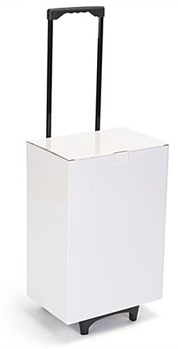 White cardboard exhibition trolley box with smooth gliding wheels