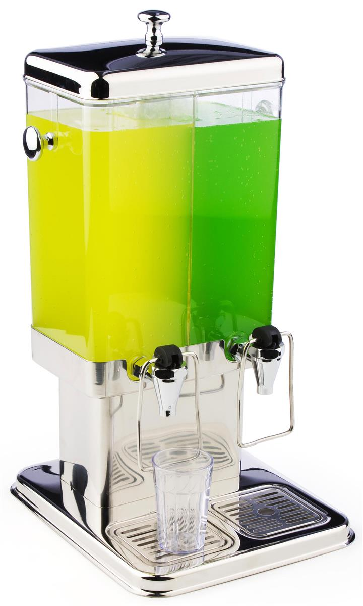 Displays2go Dual Beverage Dispensers w/ Ice Chamber Cores...