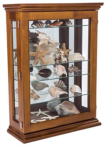 Economical Oak Curio Cabinet with Seashells on Shelves