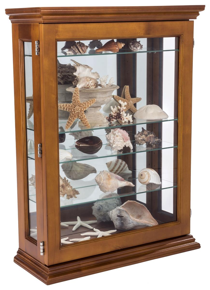 Economical Oak Curio Cabinet Wall Mount Or Countertop