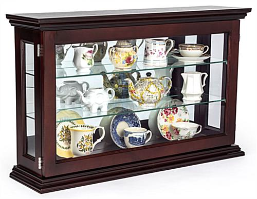 Mahogany Countertop Curio Cabinet with Antique China on Shelves
