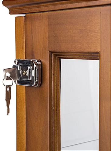 Close Up of Key and Lock on Oak Mirror Back Countertop Curio Cabinet