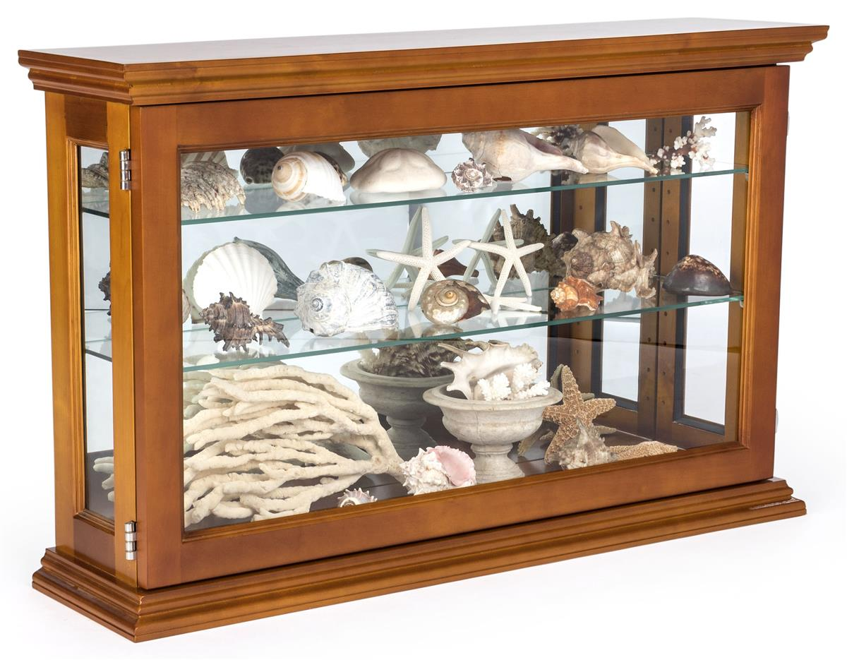 Oak Mirror Back Countertop Curio Cabinet Glass Shelves