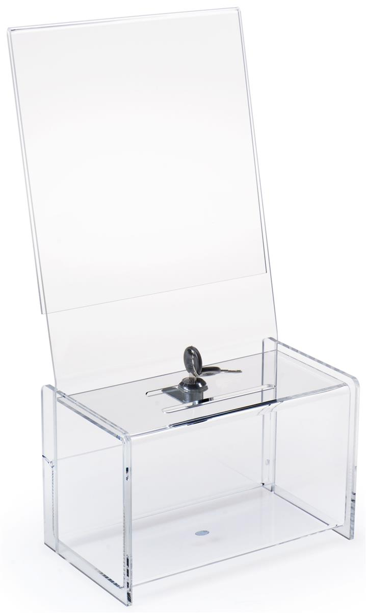 Money Donation Box With Sign Holder For Standard Sized Paper