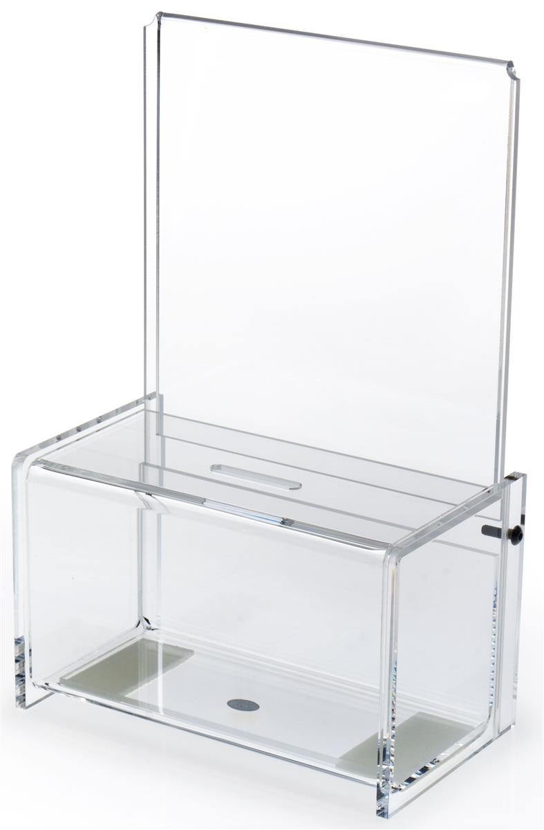 Displays2go Acrylic Donation Box with 6 x 6 Header - Clear