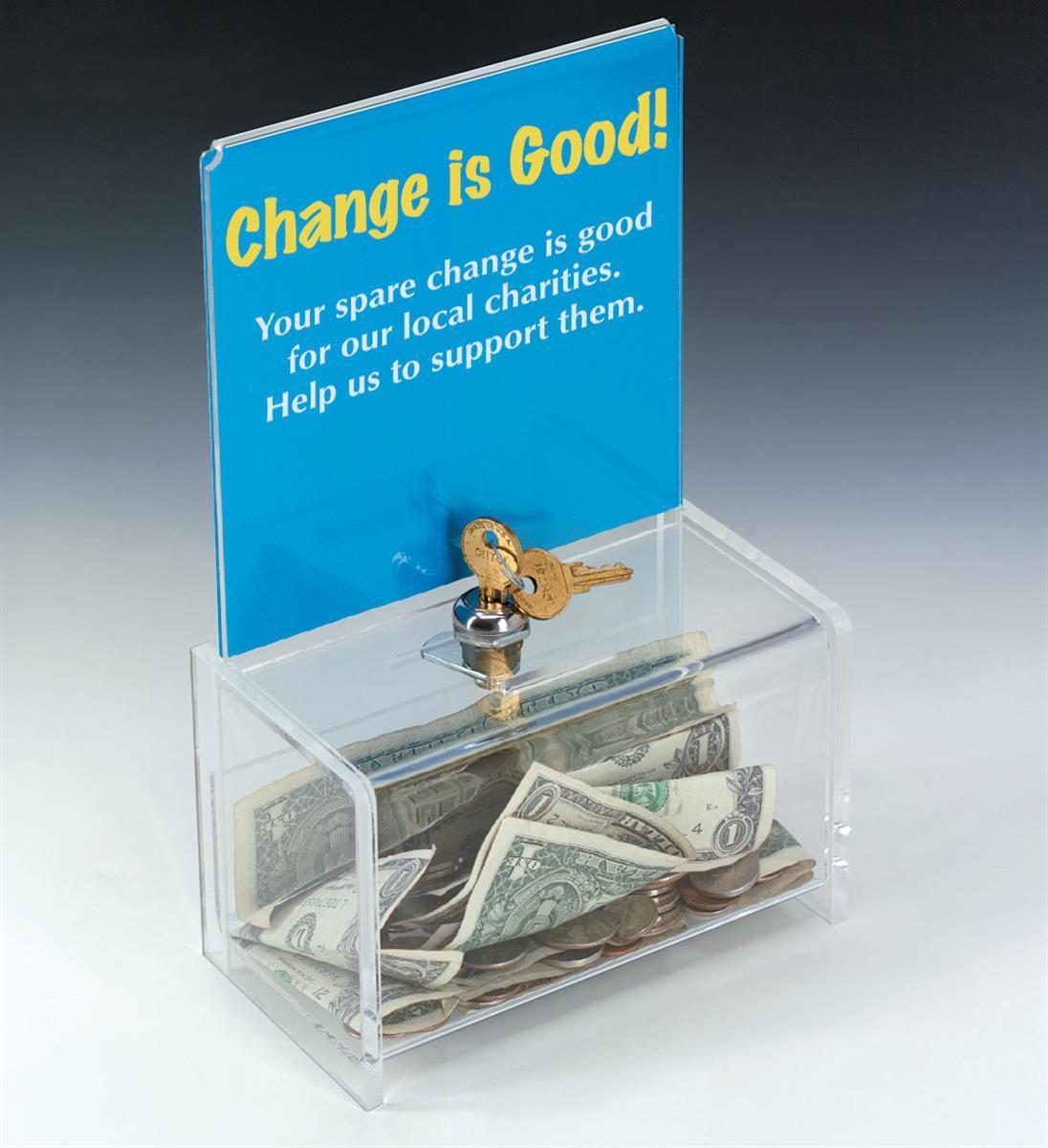 Displays2go Acrylic Donation Box with Lock, 6 x 6 Header ...