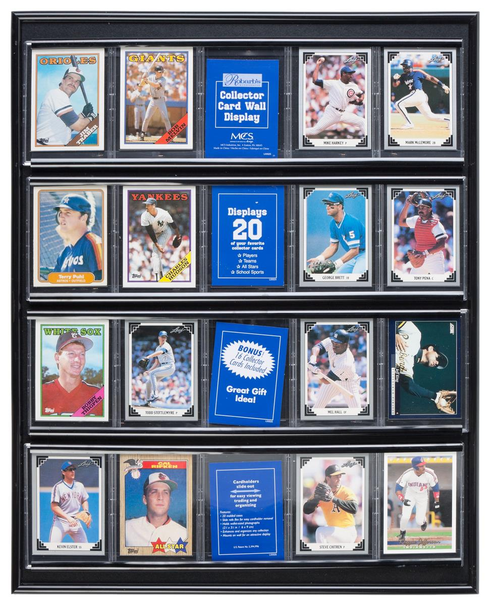 Sports Display Case W 20 Plastic Slide In Sleeves For Baseball Cards Wall Mounted