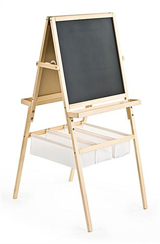 Two Sided Easel Features A Chalkboard And Whiteboard For