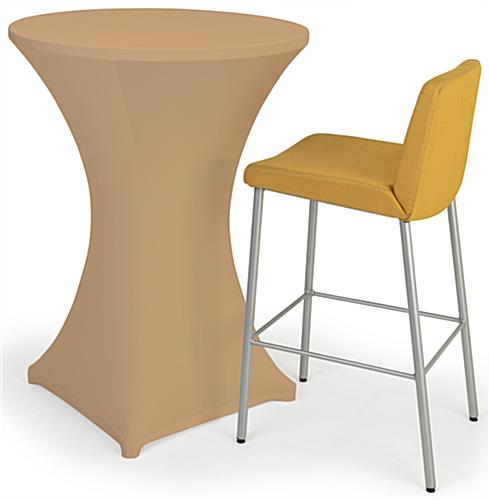 Bar height spandex table cover with fitted appearance