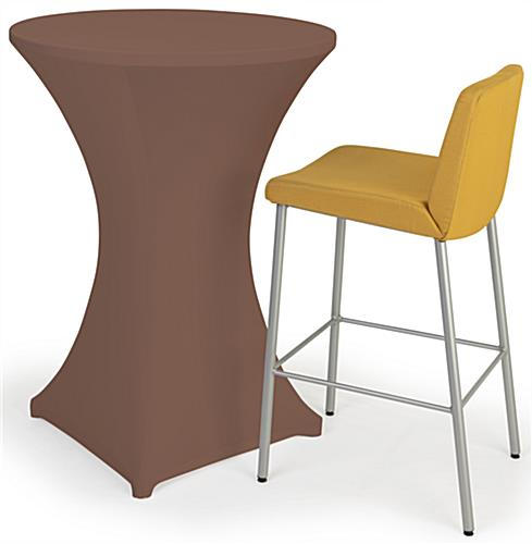 Bar height spandex table cover with elastic hemmed stitching