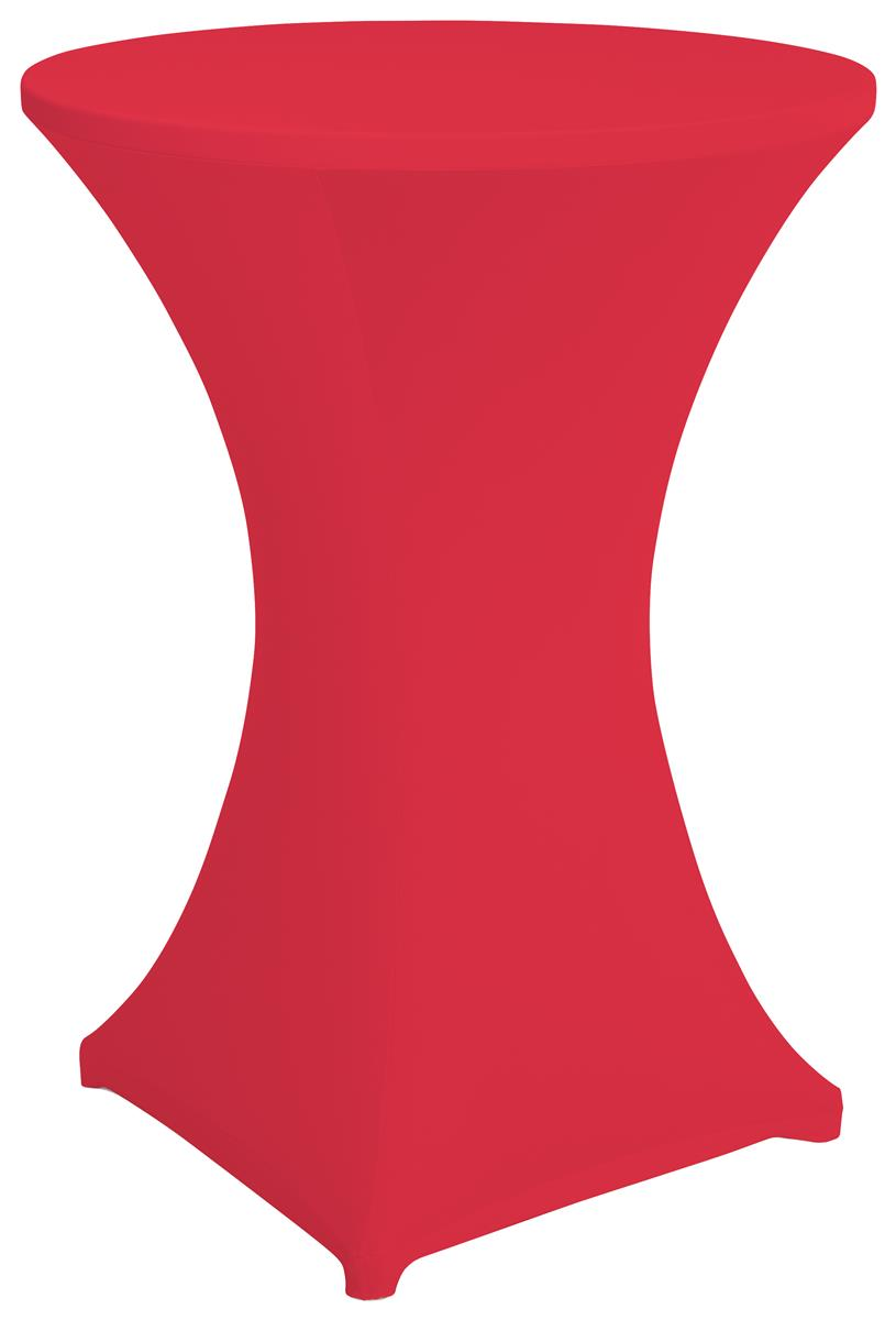 Red bar height spandex table cover