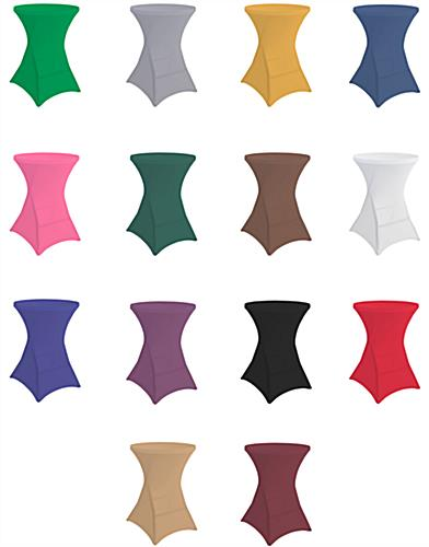 Round stretch table cover with 14 different color options