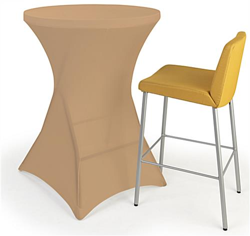 Round stretch table cover with overall height of 43 inches