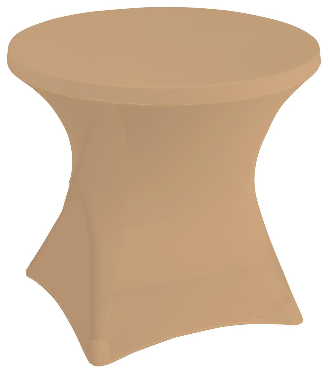 Stretch polyester tablecloths with overall diameter of 31 inches