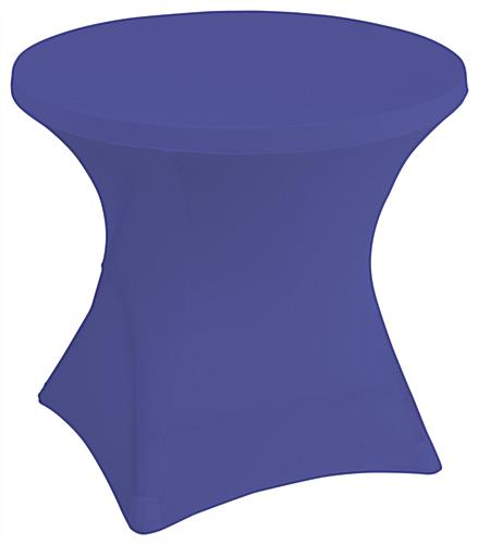 Royal blue stretch polyester tablecloths with interior foot pockets