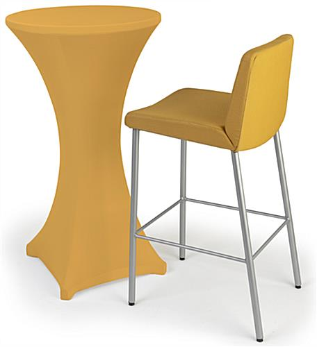 Gold cocktail table spandex cover with easy machine washable cleaning