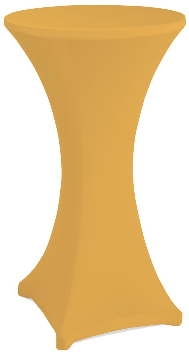 Gold cocktail table spandex cover with reinforced foot pockets