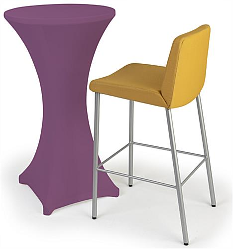 Purple cocktail table spandex cover with easy machine washable cleaning
