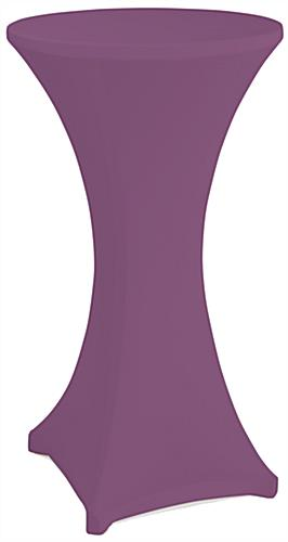 Purple cocktail table spandex cover with reinforced foot pockets
