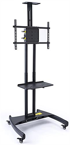 Height-adjustable rolling widescreen TV stand