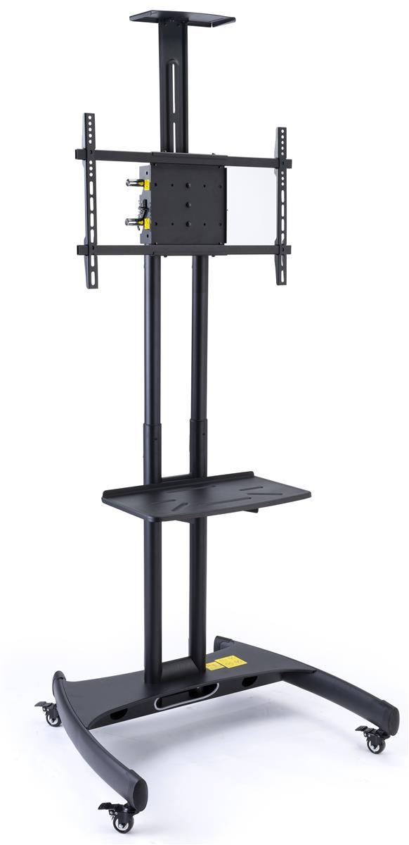 Tv Stand With Wheels Fits Monitors 40 To 65 Adjule Camera Av Shelf Black