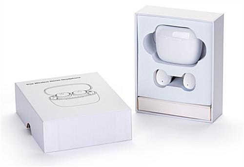 White promotional wireless earphone buds with non-branded gift box