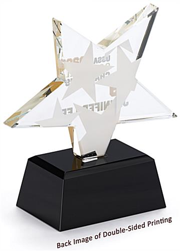 Glass star service award with double sided printing