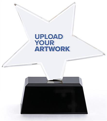 Glass star service award with ability to upload custom graphics