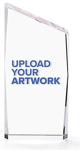 Crystal corporate trophy with easy upload your personalized artwork ability