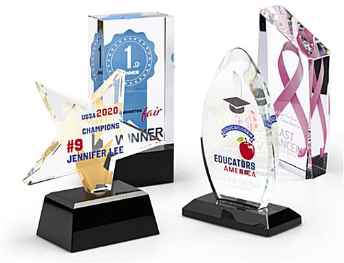 Custom glass recognition award with four shapes