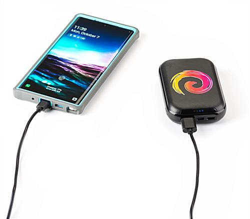 Black portable cell phone power bank with 10000 mAh capacity li-polymer battery