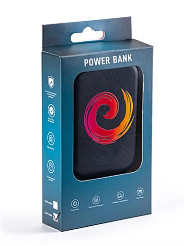 Black portable cell phone power bank with non-branded gift box