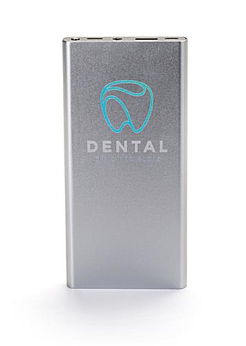Silver branded power bank with company logo