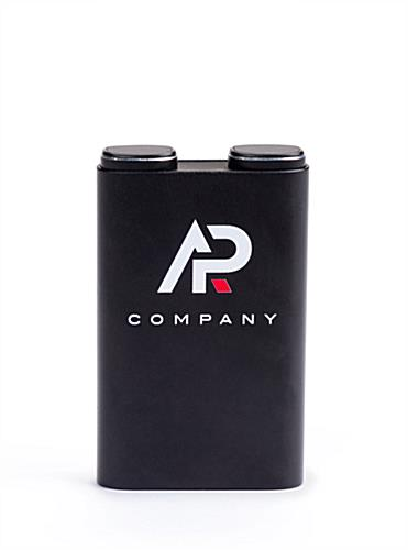 Black power bank with earbuds gift set with slim and compact design