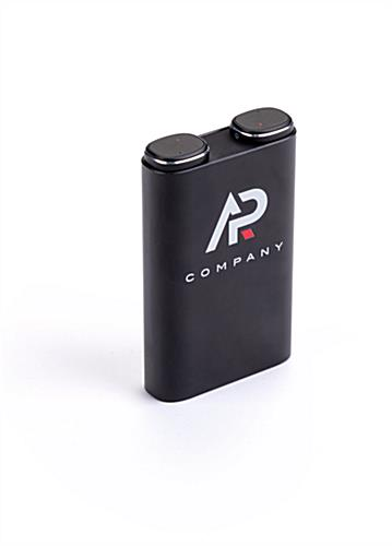 Black power bank with earbuds gift set with promotional custom graphics