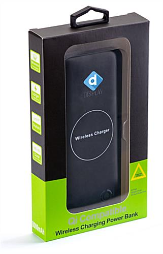 Black wireless charging promotional power bank with non branded box for holiday gifting