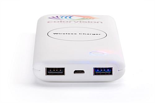 White branded wireless charger bank with two 5V/2.1A USB ports
