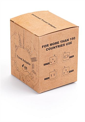 Black promotional universal travel adapter with gift box for swag bags
